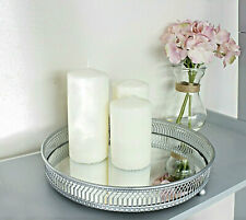 Round Silver Mirror Candle Table Centrepiece Serving Tray Decorative Plate 25cm