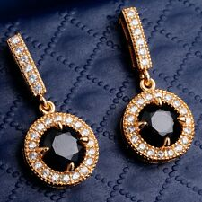 Gift Package Well-liked Black Round Cubic Zircon Rose Gold Plated Drop Earrings
