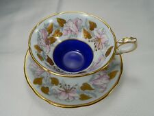 Vintage Royal Stafford Morning Glory Tea Cup and Saucer. Raised Heavy Gold.