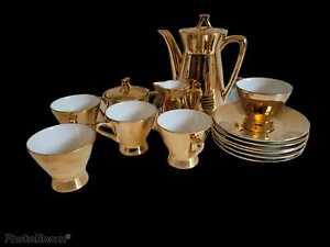 VINTAGE GOLD RETRO STYLE COFFEE SET - 13 PIECES