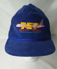 757 Heath Tecna Corduroy Baseball Hat Vintage Airplane
