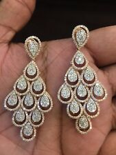 Pave 5.75 Cts Natural Diamonds Chandelier Earrings In Fine Hallmark 14Carat Gold