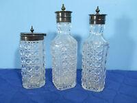 Pressed Glass Caster Bottles Silver Lids Condiment Jars Circle Diamonds Set of 3