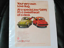 ADVERTISING SHEET ON A VW BEETLE BUG NEW COST BACK IN THE 70'S