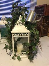 Hanging Distressed White Lantern With Ivy Twig & Watering Can Accents