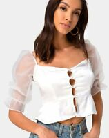 MOTEL ROCKS Viquela Crop Top in Organza Cream  Size Small S (mr10)