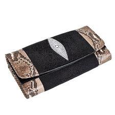 Genuine Stingray Skin & Python Snakeskin Leather Trifold Clutch Bag Wallet KTM