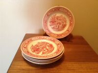 "6 Johnson Bros England rare pink transferware pink country estate 6 1/4"" plates"