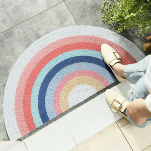 Half-Round Carpet Geometric PVC Entrance Floor Mat Home Entry Door Anti-Slip Rug