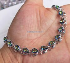 18K White Gold Filled - Blue MYSTICAL Rainbow Topaz Hollow Bracelet Beautiful