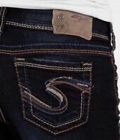 Womens Silver Jeans Mid Rise Thick Stitch Suki Skinny Dark Stretch 28 29 30 NWD