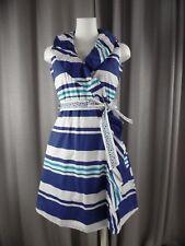 DIZZY LIZZIE Womens XS Blue Striped Cotton Blend Sleeveless Ruffle Wrap Dress