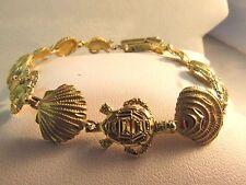 """10K Solid Gold Seashell & Turtle Beach Bracelet - 7.25""""L -SALE  #882"""
