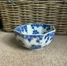 More details for antique chinese blue & white dragon lotus flowers hexagonal serving bowl