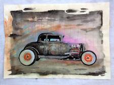 Peinture signée - chevrolet roadster voiture art contemporain