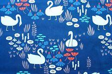 Cloud 9 Fabric Organic Cotton Elizabeth Olwen Park Life Royal Swan Half Metre