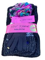 3 Pc set BETSEY JOHNSON Funshine women's winter scarf beanie hat gloves
