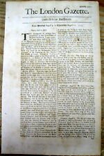 1703 London Gazette newspaper w news from the Island of Jamaica in the Caribbean