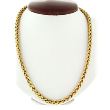 """Vintage 14k Yellow Gold 32"""" Long Open Grooved Woven Wheat Link Chain Necklace"""