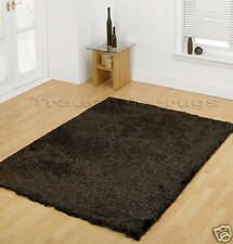 Large Thick Shaggy Soft Shiny Dark Brown Rug 160x220cm