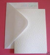 50 White Hammered A6 Card Blanks & White Envelopes - Card Making Invitations
