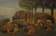 Giovanni Malesci, L'ovile, olio su tavola, 22x33 cm, 1927