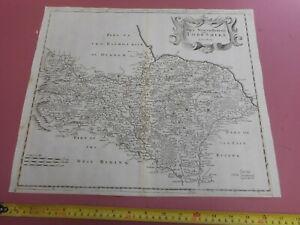 100% ORIGINAL LARGE NORTH YORKSHIRE MAP BY ROBERT MORDEN C1695 VGC