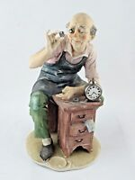 Perfect Signed A. Benni Capodimonte Clock Horology Watchmaker Porcelain Figurine
