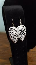 French Wire Fashion Earrings Silver-Toned Scroll Leaf Dangle