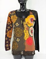 DESIGUAL #17T2540 Long Sleeve NIEBLA Printed Women's T-Shirt Top Blouse size S