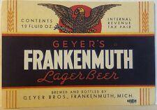 IRTP Geyer's Frankenmuth Lager Beer Label - Framkenmuth, Michigan NOS - Tax Paid