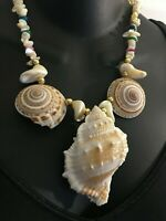 Massive Sea Shell Statement Necklace Vintage