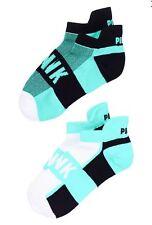 2 PAIRS of Victoria's Secret PINK Logo BLUE + BLACK No-Show Ultimate Ankle Socks