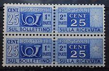 1946    Repubblica Italiana   coppia  25 centesimi Pacchi postali  filig. ruota