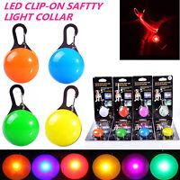 LED Pet Dog Cat Collar Nite Night Light Safety Clip Flashing Neon Pendant uk