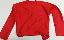 Girls RED Top, AGE 4-5, Nylon Lycra Tap Jazz Crossover Cardigan Warm Up Shiny