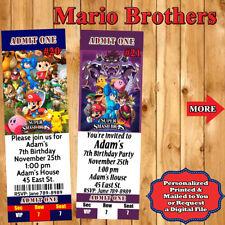Super Smash Mario Brothers Birthday Invitations 10 ea w/Env Personalized Printed