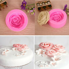 Silicone 3D Rose Flower Mould Tools DIY Fondant Cake Sugarcraft Cutter Decor