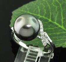 18k Solid White Gold Natural Tahitian South Sea Pearl & Diamond Bypass Ring 11mm