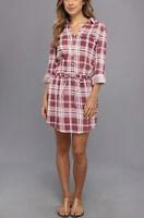 Soft JOIE Tereza Dress XS Pink Plaid Drawstring Waist Shirtdress Cotton