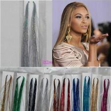 "1 Set 40""HAIR Tinsel Silk EXTENSIONS Glitter Sparkly Highlight Streak Clubbing"