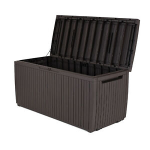 Keter 243547 Springwood 80 Gallon Resin Outdoor Storage Deck Box, Dark Brown