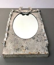 LARGE FRENCH-STYLE ZINC FRAMED LAUREL MIRROR. DRAPED RIBBONS.