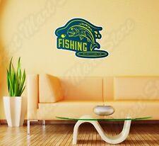 "Fisherman Fish Fishing Worm Bite Hook Wall Sticker Room Interior Decor 25""X19"""