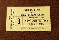 Maryland Terrapins Florida State Seminoles Football Ticket Stub 10/3 1998