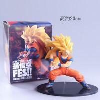 "7.8"" Dragon Ball Super Saiyan 3 Goku Combat Statue PVC Figure Model Doll Gift"