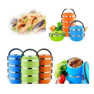 1/2 Layers Stainless Steel Thermal Insulated Lunch Box Bento Food Warm Cases