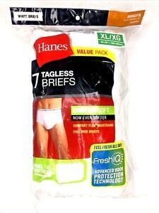 Hanes Men's White Briefs TAGLESS No Ride Underwear Comfort Flex Waistband 7-Pack