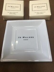 JO MALONE CHINA SOAP DISH LONDON GENUINE PLUS 2 x BATH SOAPS BASIL LIME 50 gram