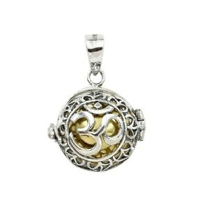 OM Meditation Harmony Ball Chime Pendant Necklace in 925 Sterling Silver 3.0 Cm